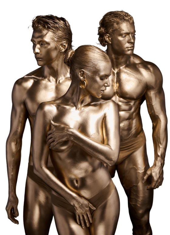 Photo of 3 people covered with a gold paint